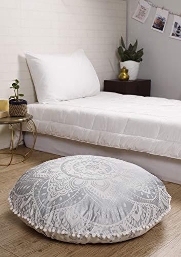 Madhu International Bodenkissen, Sitzkissen, Überwurf, Bezug aus Bio-Baumwolle, Pouf, schickes Hundebett, indisches Mandala, dekorativer Bodenkissenbezug, 81,3 cm, Weiß / Silber