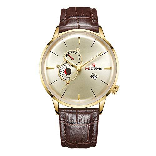 Relojes para Hombre Cronógrafo Acero Inoxidable 30M Impermeable Moda Deportes Crono Cuero Reloj para Hombre -D