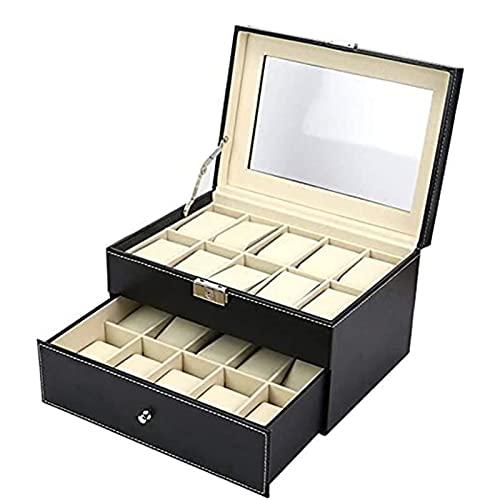KMDJ Relojes Box Watch Box Watch Display Organizador Doble Capa 20 Grids Reloj Caja de almacenamiento Caja de visualización de la tapa de visualización Organizador Regalo Joyería Caja de joyería Exhib