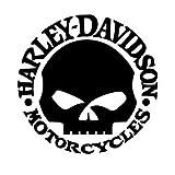 Harley Davidson replica teschio decal skull adesivo prespaziato senza fondo in vinile colore nero lucido, 10 centimetri.