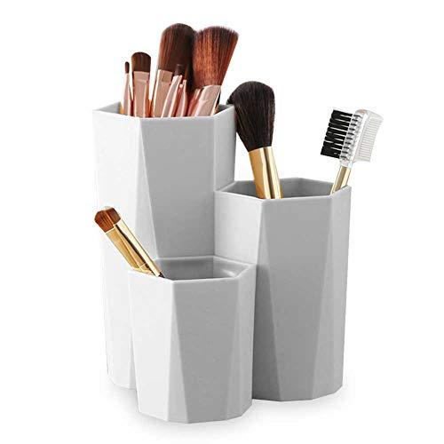 GBSTORE Boîte de rangement pour pinceaux de maquillage 3 compartiments Gris