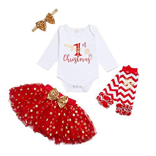 4 piezas ropa de Navidad bebé niñas mi primera Navidad mameluco Top+falda tutú+calentadores de pierna+diadema conjunto, Punto rojo, 6 mes