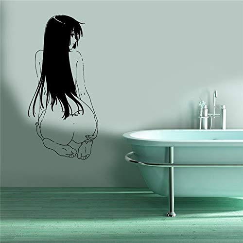 Ofomox home decoration Wall Mural Vinyl Sticker Decal Anime Manga Sexy Girl Sitting Back wall stickers 44 x 90 cm