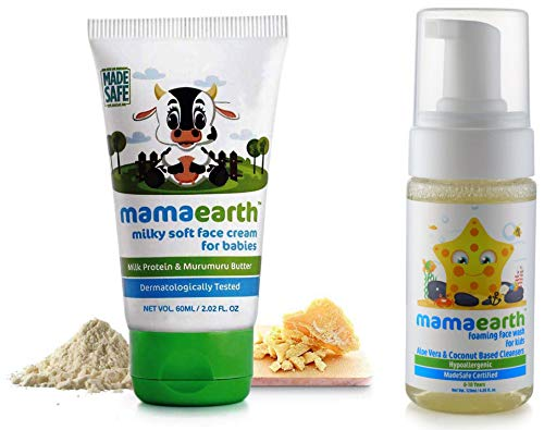 Mamaearth Milky Soft Natural Baby Face Cream For Babies 60Ml&Mamaearth Foaming Baby Face Wash For Kids With Aloe Vera And Coconut Based Cleansers, 120 Ml