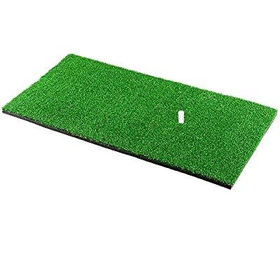 "Halomy Golf Hitting Mats 12""x24"" Portable Golf Mats Practice Hitting Mat with Rubber Tee Holder Realistic Grass Turf Mat Golf Training Mat for Indoor Office Equipment"