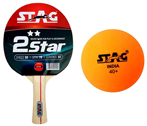 Stag Seam Plastic Table Tennis Ball, 40mm Pack of 6 (Orange) & 2 Star Table Tennis Racquet Combo