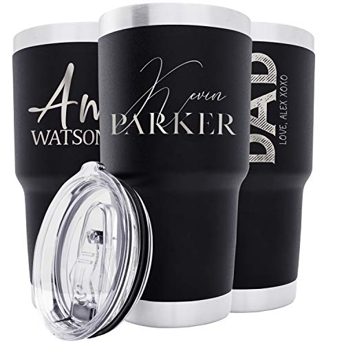 Personalized Tumblers w/Splash Proof Lid - 30 oz, Black - 18 Designs - Vacuum Insulated Travel Coffee Mugs - Stainless Steel Double Wall Thermos - Personalized Cups, Hot and Cold Drink Use