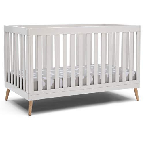 Delta Children Essex 4-in-1 Convertible Baby Crib, Bianca White with Natural Legs
