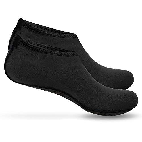 Boolavard Chaussure de Sport Nautique Chaussettes Slip-on Aqua Yoga Barefoot à séchage Rapide pour Hommes Femmes Enfants (XL - 42-43 EU, Noir)