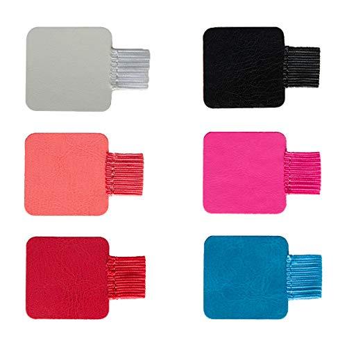 Bolígrafo Autoadhesivo,6 Pack Negro Forma Cuadrado Portalápices Autoadhesivo Soporte Para Bolígrafos en Cuero Clips Lápiz Elástico para Libros Colores
