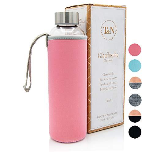 T&N Glasflasche Classique 550 ml - Neoprenhülle Auslaufsicher - Mit GRATIS Glas Strohhalm zum Testen - Trinkflasche Wasserflasche Sport-Flasche Glastrinkflasche 100% BPA frei mit Bürste