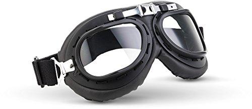 """Moto Helmets® MG-22 """"Black"""" · Jet-Brille · Motorrad-Helm Flieger-Brille Retro Roller Scooter Cruiser Oldtimer Vespa Ski-Brille Sport-Brille Vintage"""