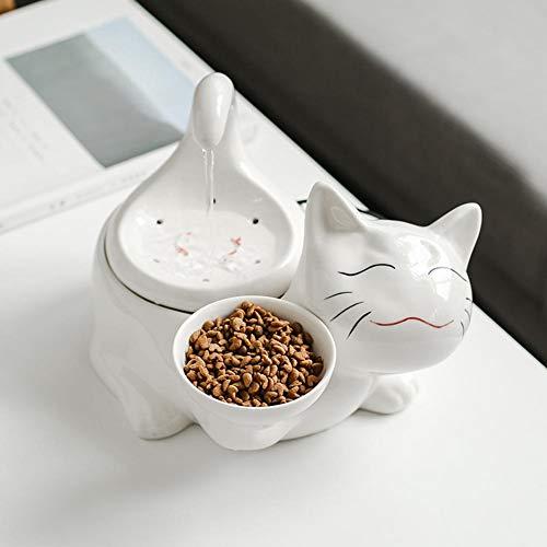 Fuente de agua de cerámica para gatos, dispensador de agua eléctrico silencioso, fuente de agua para gatos, recipiente para dispensador de agua para mascotas, fuente de agua para perro gato, ajustable