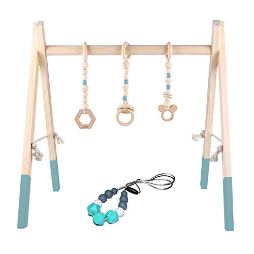 Learn More About GOZYE Baby Play Activity Gym Frame with Wooden Baby Teething Mobiles & Silicone Tee...