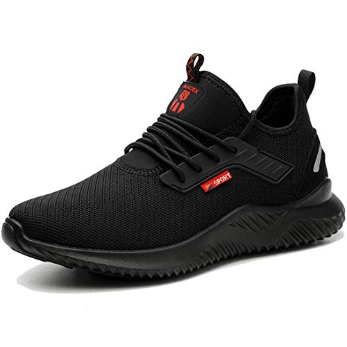 BAOLESEM Sicherheitsschuhe Herren S3 Arbeitsschuhe Herren Damen Leicht sportlich Schutzschuhe mit Stahlkappen Sneaker, 1 Schwarz, 44 EU