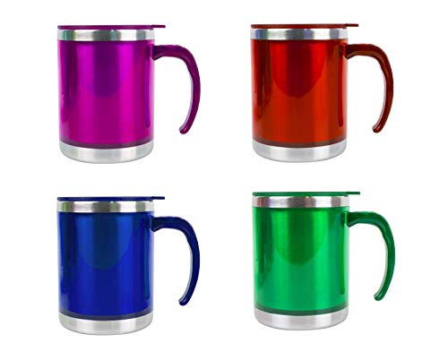 Invero Set of 4 Stainless-Steel Insulated (450ml 16oz) Colourful Travel Mug...