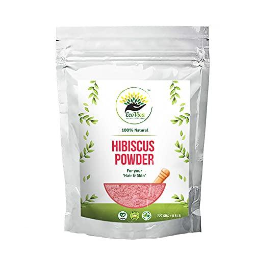 EcoVica 100% Natural Hibiscus Powder for Hair & Skin, Treats Hair-Fall, Hibiscus Sabdariffa Flower Powder Prevents Skin Ageing (227g /0.5 lb) 8 Ounces - Pack of 1