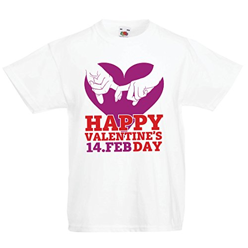 lepni.me Camisas para niños ¡Feliz día de San Valentín Corazones! 14 de febrero Impresionante Regalo de Amor de San Valentín (7-8 Years Blanco Multicolor)