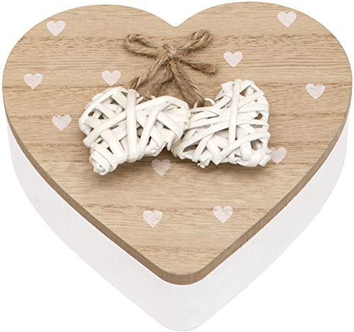 Maturi - Joyero de madera con tapa con diseño de corazón