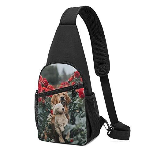 794 Garden Dog Sling Bag Chest Shoulder Backpack Crossbody Bags for Men Women Black