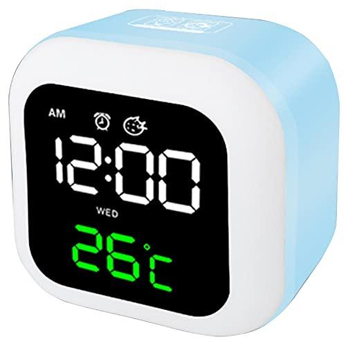 HBWH Reloj despertador, reloj despertador digital, reloj de noche para niños, reloj despertador y luz nocturna (azul)
