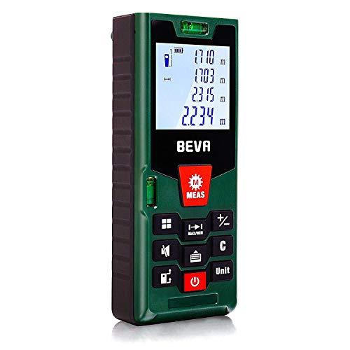 Laser Entfernungsmesser Laser Messgerät Distanzmesser mit LCD Hintergrundbeleuchtung, Staub/Spritzwasserschutz IP54 von BEVA (60M)