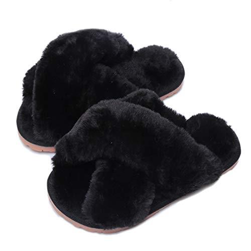 Hitopteu Pantofole Donna Peluche Casa Scarpe Bambini Invernali Slippers Ciabatte Aperta Pantofole Pelose Fluffy Infradito Nero EU 41/42 per la Dimensione dell'Etichetta 42/43