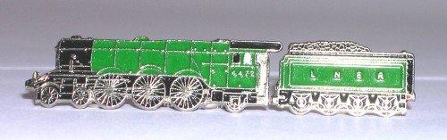 Anstecknadel aus Metall und Emaille, Motiv: Dampflok fliegender Schottmann, Grün