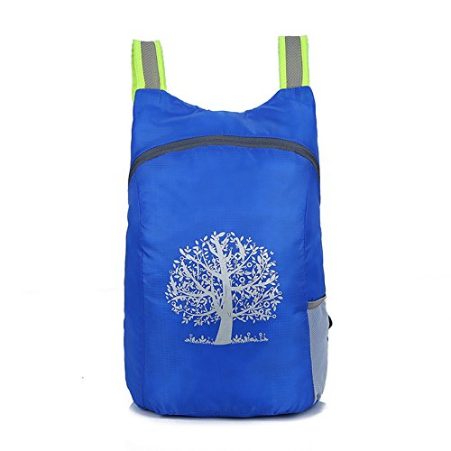 Expedition Gadgets Packable Backpack - Foldable Backpack for Travel – Lightweight Daypack for Hiking, Camping and Trips – Waterproof Small Travel Backpack with Tree of Life Print (Royal Blue)