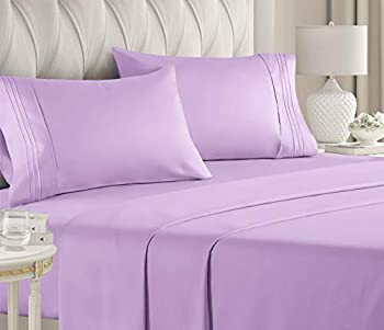 King Size Sheet Set - 4 Piece - Hotel Luxury Bed Sheets - Extra Soft - Deep Pockets - Easy Fit - Breathable & Cooling Sheets - Wrinkle Free - Comfy – Lavender Bed Sheets - Kings Sheets – 4 PC