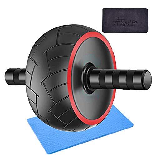 Bauchtrainer Ab Roller, Bauchroller mit Kniematte und Handtuch, Bauchmuskeltrainer für Starke Schultern/Arme/Rücken/Bauchmuskeln, Standhält 100kg, Fitness, Workout