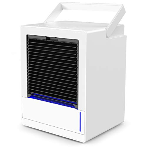 infray Portable Air Cooler, 5000mAh USB Rechargeable Personal Air Conditioner 3 Speeds Space Cooler, 3 in 1 Mini 90? Auto Oscillating Evaporative Cooler, Humidifier, Purifier with 7 Colors LED Light