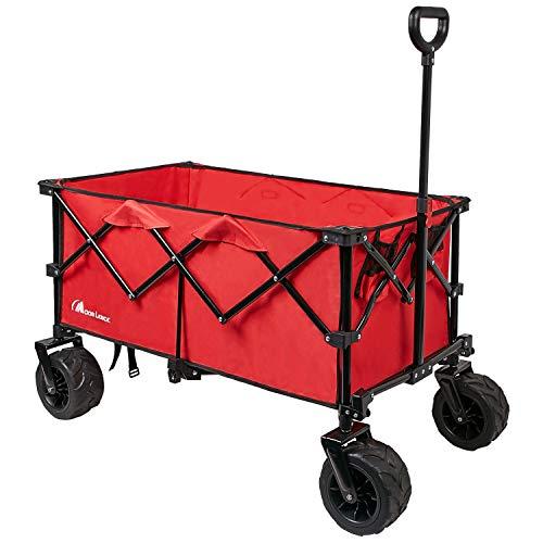 Moon Lence キャリーワゴン 折りたたみキャリーカート 大容量156L 幅広大型タイヤ ビーチ対応か アウトドア キャンプ レジャー BBQ 運動会 耐荷重100kg
