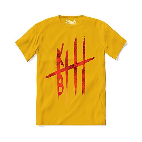 MUSH T-Shirt Kill Bill Blood Quentin Tarantino - Film Pulp - 100% Cotone Organico, Large Uomo, Giallo