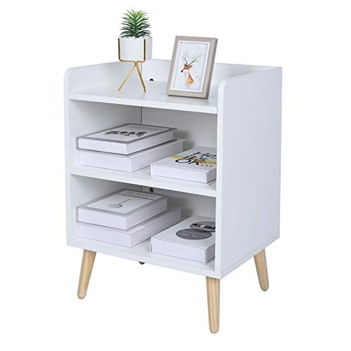 TINSAWOOD End Table 3-Tier,Nightstand with Open Compartment, Wooden Accent Side Table with Solid Wood Leg, White