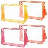 Toiletry Bag 4 Pieces Large Clear Makeup Bags Waterproof Travel Plastic Bags with Zipper Cosmetic Toiletry Pouch Portable Travel Clear Bag Transparent Multicolored Airport Vacation Luggage Pouch