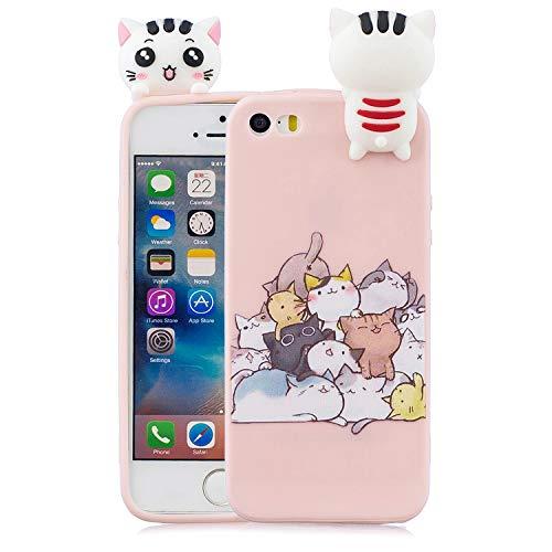 Keteen Cover iPhone 5/5s Silicone Custodia iPhone SE 3D Gatto TPU Candy Color Flessibile Bumper per Apple iPhone 5/5s/SE Anti Graffio Ultra Sottile Protettiva Case