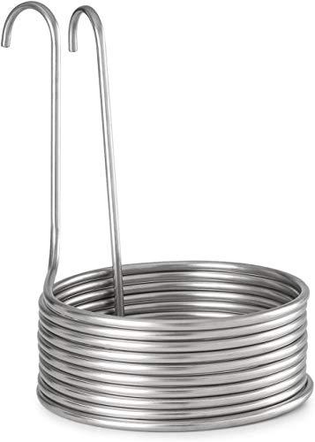 Wort - Chiller de acero inoxidable con mangueras, 10 hebillas de 23 cm