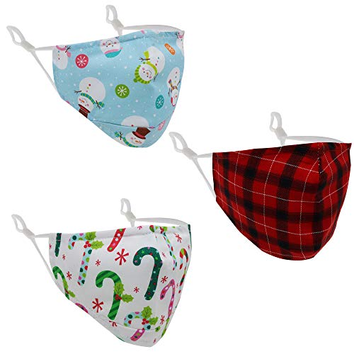 3 PCS Adjustable Christmas Face Masks for Kids, Childrens Size Holiday Cotton Mask with Filter Pocket, Double Lined Cover with Nose Bridge Wire