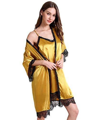 Aivtalk Nachtkleid Sexy Kurz mit Morgenmantel Damen Satin Nachtwäsche und Kimono Sleepwear Pyjama Robe Nachthemd Frauen XL Gelb