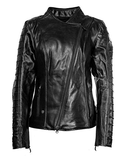 HARLEY-DAVIDSON Damen Motorrad Jacke Lederjacke Schutzjacke mit Protektoren, XL