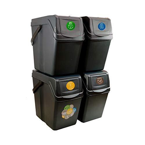 Juego de 4 Cubos de Reciclaje 100L Sortibox de plastico en Color Antracita, 4x25L