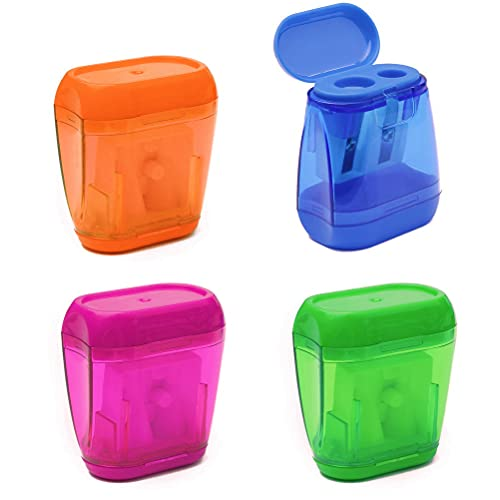 Pencil Sharpener, 4 Pcs Manual Pencil Sharpeners Double Holes Sharpener with Lid Colored Pencil Sharpeners for Kids Plastic Pencil Sharpeners for School Office Home Supply