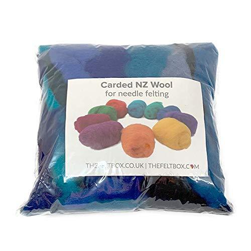 Lana cardada para fieltro, paquete de sombra de lana de fieltro (rollos), 100 gramos 3.5 oz (rollos...