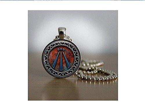 Amulett mit Kette, eingefasster Druiden-Anhänger mit Awen-Symbol, inkl. Kupferkette, versilbert