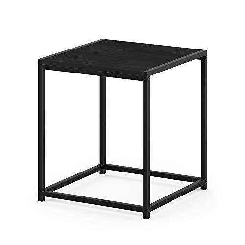 Furinno Camnus Beistelltisch mit 1 Ablagefläche, Holz, Schwarz, 40 x 40 x 45.29 cm
