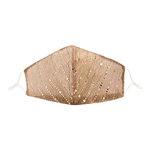 ddfb Women Sequin Face Covering Washable UK with Bling Sparkly Decorative Dustproof Reusable Fashion Cotton Adjustable Face Protection for Masquerade Wedding Special Occasion