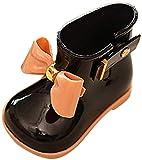 yuyuanDO Bottes de Pluie Bottines de Pluie Bebe Enfants garçons Filles Enfants Chaussures de Pluie Souples et durables en PVC imperméable, antidérapant pour Tout-Petits (23 EU, Noir)