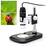 Drohneks 40X-800X Microscopio Digital USB 2.0MP Sensor de Imagen Endoscopio Cámara Lupa con Soportes Profesionales y 8 LED