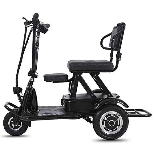 MMJC Faltbare Elektro-Dreirad, Leichtgewichtig Ältere Behinderte Elektroroller Anti-Diebstahl-Carry-Elektrisches Fahrrad, 20Km Unisex,Schwarz